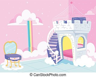 主題, イラスト, 王女, 子供, 寝室, ファンタジー