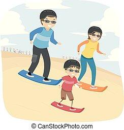 乗ること, stickman, 家族, 砂, 冒険, 砂漠
