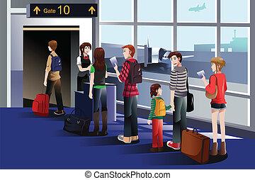 乗る ゲート, 飛行機, 人々