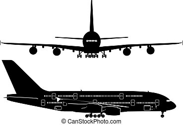 乗客, シルエット, ジェット機