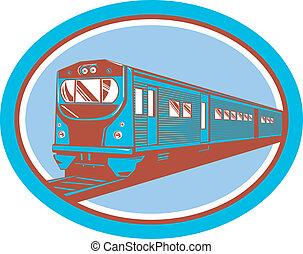 乗客, レトロ, 光景, 前部, 列車