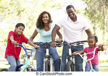 乗馬の自転車, 公園, 若い 家族