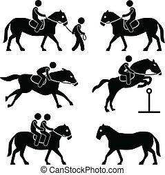 乗馬者, 乗馬, ジョッキー, 馬