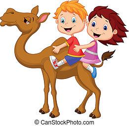 乗馬, 女の子, らくだ, 男の子, 漫画