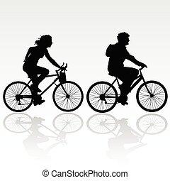 乗馬, 女, 自転車, 人