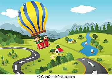 乗馬, 暑い, 子供, balloon, 空気