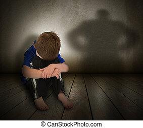 乱用された, 男の子, 怒り, 影, 悲しい