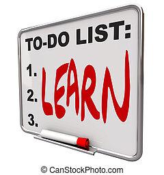 乾きなさい, するべきことのリスト, -, 消しなさい, 板, 学びなさい