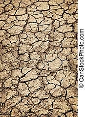 乾きなさい, の間, 割れた, 干ばつ, 地面