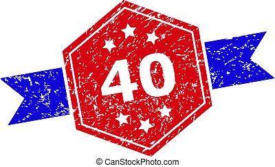 二色, シール, 手ざわり, 六角形, 切手, グランジ, 40