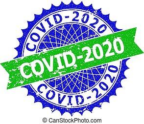 二色, ロゼット, covid-2020, シール, 切手, グランジ