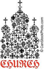 交差点, キリスト教, シンボル, 宗教, 教会, icon.