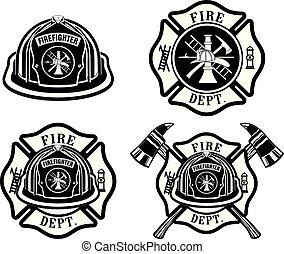交差点, ヘルメット, 部門, デザイン, 火