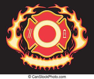 交差点, 消防士, 旗, 燃えている