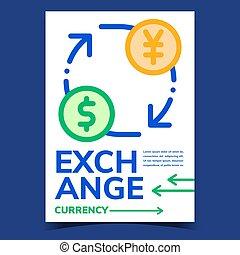 交換, 創造的, ポスター, ベクトル, 宣伝しなさい, 通貨