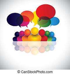 交渉, オフィスの人々, コミュニケーション, 議論, 子供, スタッフ, &, 媒体, また, 従業員, ミーティング, 子供, 相互作用, 会議, 表す, グラフィック, 話し。, 話し, ベクトル, 社会, ∥あるいは∥