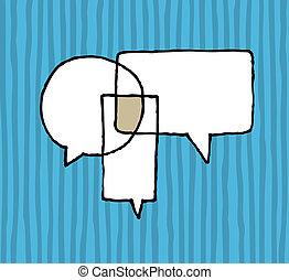交渉, 合意, /, スピーチ, 対話, 風船
