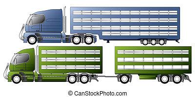 交通機関, 動物, トレーラー, トラック