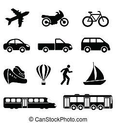 交通機関, 黒, アイコン
