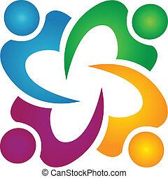 人々ビジネス, チームワーク, ロゴ, グループ