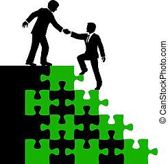 人々ビジネス, パートナー, 発見の解決, 助け
