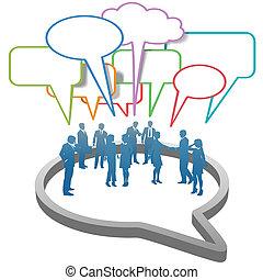人々ビジネス, 泡, ネットワーク, 中, 社会, スピーチ