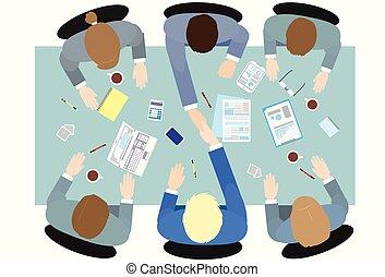 人々ビジネス, 角度, 光景, 握手, 上