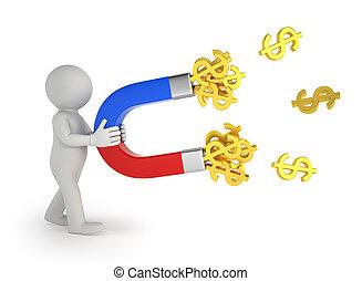人々, お金, -, 磁石, 小さい, 3d