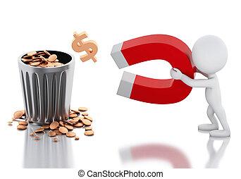 人々, お金。, u字形磁石, 白, 3d, 引き付けること