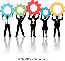 人々, の上, ギヤ, チーム, 解決, 技術
