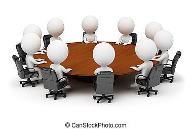 人々, -, の後ろ, セッション, 小さい, テーブル, ラウンド, 3d