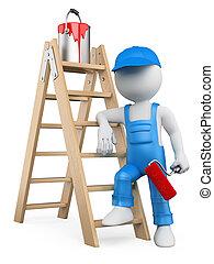 人々。, はしご, 白, 画家, 3d