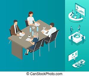 人々, イラスト, ベクトル, テーブル, ミーティング, セミナー
