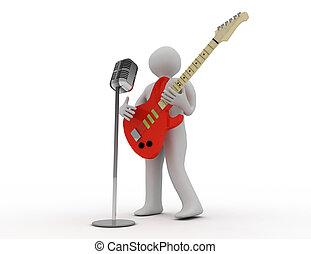 人々, ギターの 演奏, 3d, 白, 電気である, マイクロフォン, レトロ