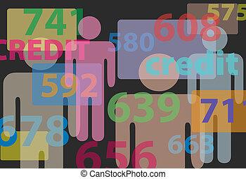 人々, クレジット, スコア, 局, 数, 成績表