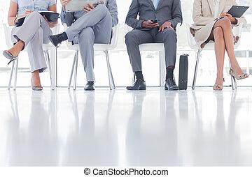 人々, グループ, 待つこと, ビジネス