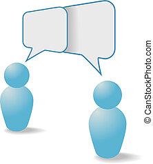 人々, コミュニケーション, 分け前, シンボル, スピーチ, 泡, 話