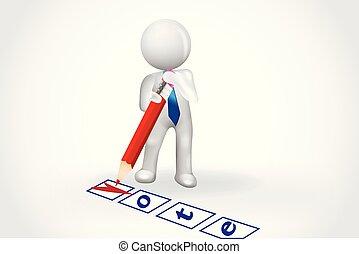 人々, チェックリスト, シンボル, -, 小さい, 投票, カード, 3d