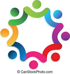 人々, チームワーク, 慈善, ロゴ, ベクトル