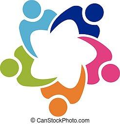 人々, チームワーク, 組合, ロゴ, 5
