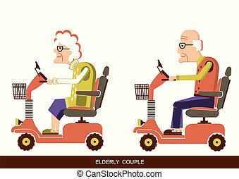 人々, ドライブしなさい, 古い, 可動性, スクーター