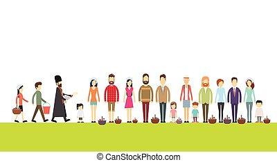 人々, バスケット, 立ちなさい, イースター, consecrate, 幸せ, 司祭, 休日, 線, グループ, 祝福, ケーキ, 卵