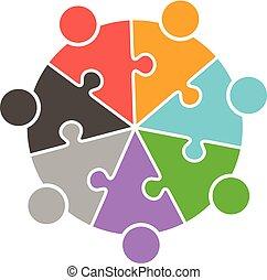 人々, パズル小片, チームワーク, ロゴ, 円