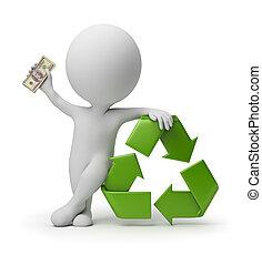 人々, リサイクル, -, 小さい, 支払い, 3d