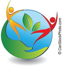 人々, ロゴ, 世界, 心配, 健康