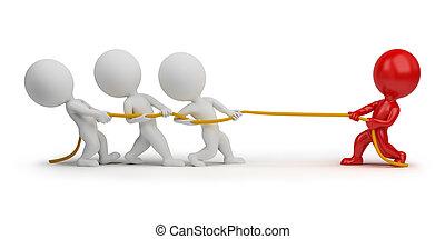 人々, -, ロープ, 引く, 小さい, 3d