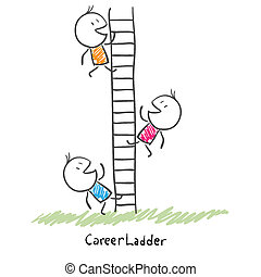 人々, 上昇, 概念, キャリア, ladder., ビジネス, 企業である, の上, イラスト