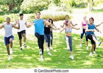 人々, 公園, 運動