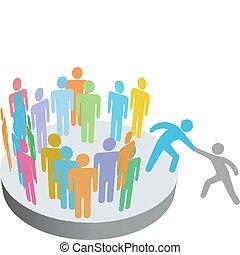 人々, 参加しなさい, 助け, 人, メンバー, グループ, 会社, ヘルパー