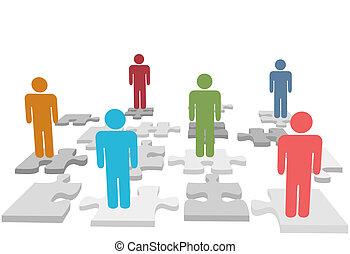 人々, 困惑, ジグソーパズル小片, 立ちなさい, 人的資源